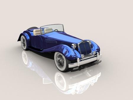 shiny car: Shiny old Hot Rod 3D model of vintage blue car  Stock Photo