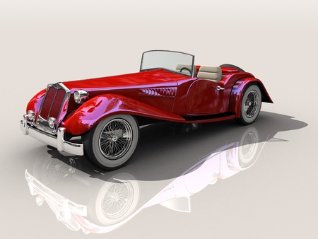 Shiny old Hot Rod 3D model of vintage red car  photo