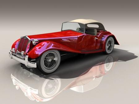 shiny car: Shiny old Hot Rod 3D model of vintage red car