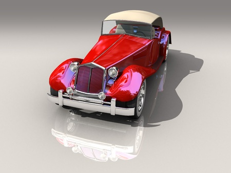 Shiny old Hot Rod 3D model of vintage red car