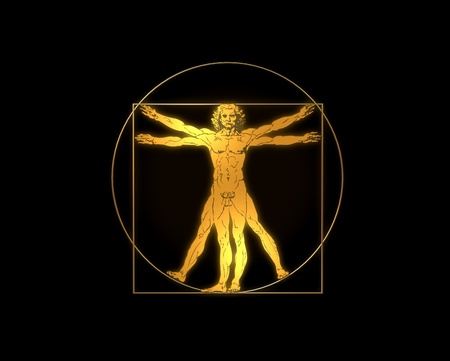 uomo vitruviano: Leonardo Davinci - the Vitruvian man in gold or shiny metal Archivio Fotografico