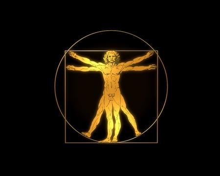 Leonardo Davinci - the Vitruvian man in gold or shiny metal Foto de archivo