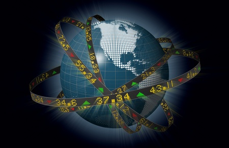 Globe with orbiting ribbons displaying stock market tickers Stock Photo
