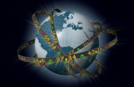 world market: Globe with orbiting ribbons displaying stock market tickers Stock Photo