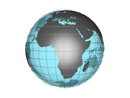 3D model of globe map showing Africa continent