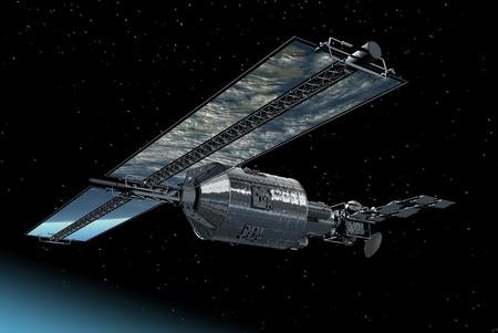 지구를 반영하는 거울 태양 전지 패널로 날아가는 통신 위성 스톡 콘텐츠
