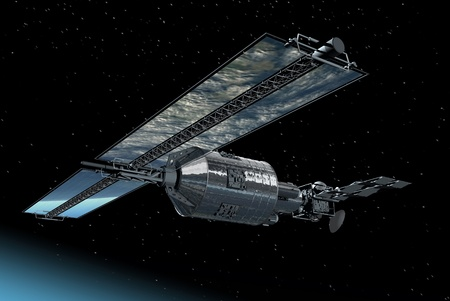 Telecommunication Satellite flying over with mirror solar panels reflecting Earth