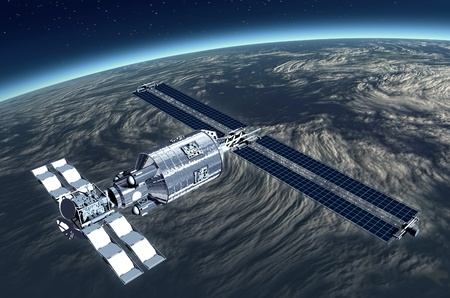 Telecommunication Satellite flying over Earth with reflecting mirror solar panels