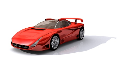 3D Model of red sports concept car