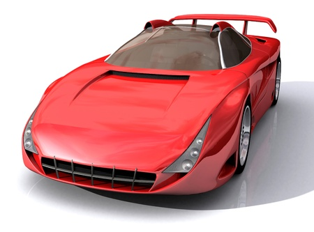3D Model of red sports concept car isolated on white background  Stock Photo