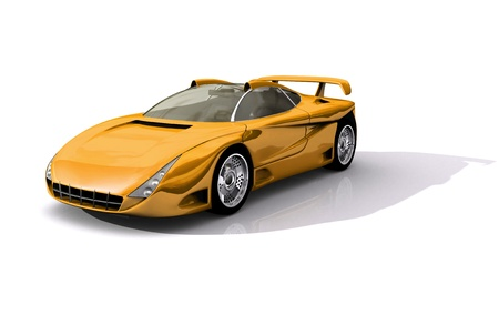 3D Model of yellow sports concept car Stock Photo