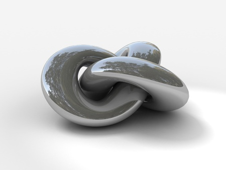 Three dimensional rendering of tied torus knot in silver chrome metallic material Stock Photo