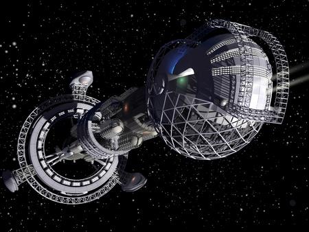 3D model of futuristic space ship in interstellar travel background
