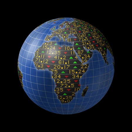 African economies with stock market tickers sliding on continents of a rotating globe