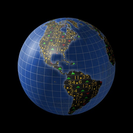 American economies with stock market tickers sliding on continents of a rotating globe Stock Photo