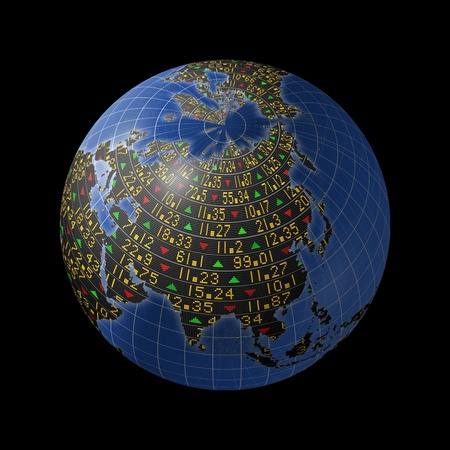 emerging markets: Asian economies with stock market tickers sliding on continents of a rotating globe