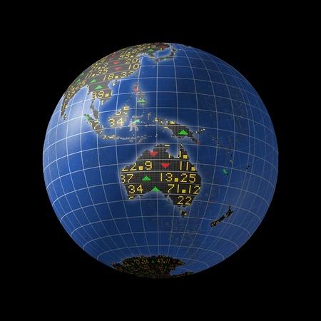 Australian economies with stock market tickers sliding on continents of a rotating globe Stockfoto
