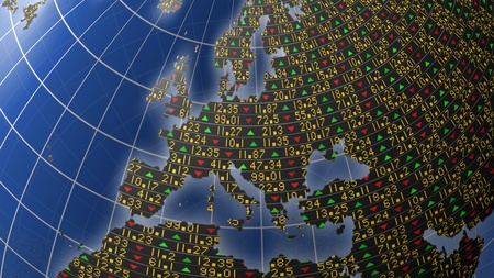 European economies with stock market tickers sliding on continents of a rotating globe Stock Photo