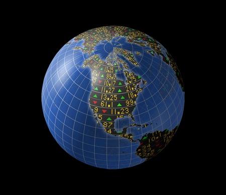 回転の地球の大陸にスライディング株価ティッカーと世界経済
