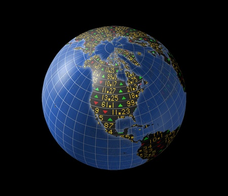 World economies with stock market tickers sliding on continents of a rotating globe
