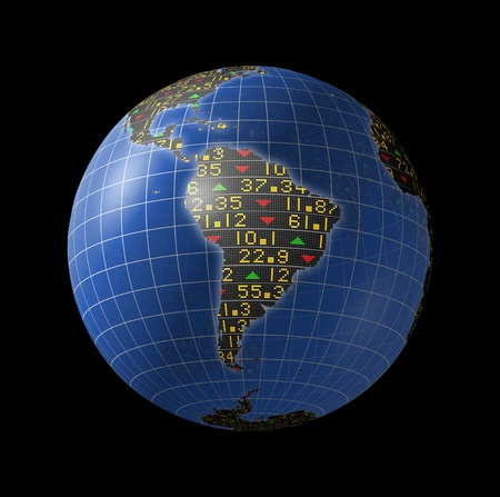 South American economies with stock market tickers sliding on continents of a rotating globe Foto de archivo