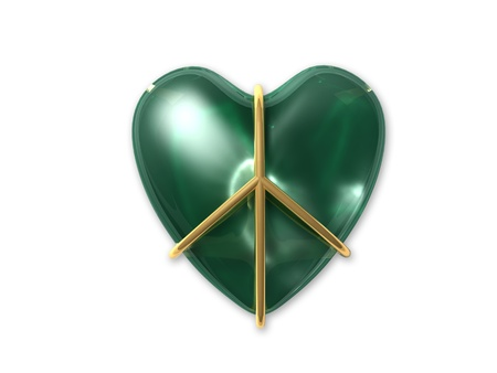 seasonal symbol: 3D I love green peace sign Stock Photo
