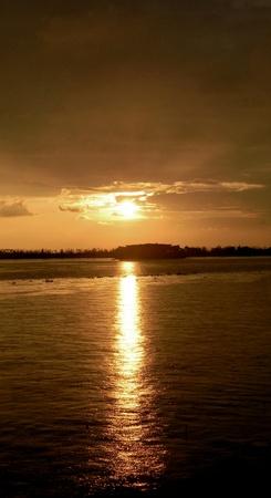 Sunset on the backwaters of Kerala, Southwest India                                 Stock Photo