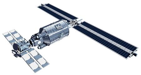 태양 전지판으로 비행하는 통신 위성