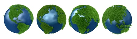 Green Planet collage with continents mapped with grass