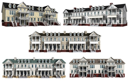 Collage with 3d models of multistory condominiums Stock Photo
