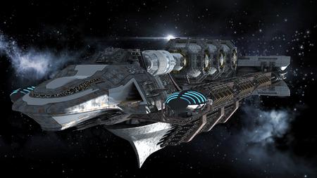 エイリアンの母船深宇宙の未来、ファンタジーまたは星間旅行の背景、銀河スター フィールド クリッピング パスでレンダリングが jpg ファイルに含まれる 写真素材 - 29877451
