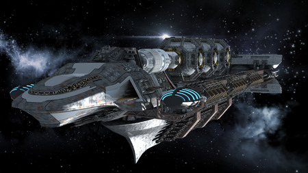 galactic: Alien mothership in deep space, for futuristic, fantasy or interstellar travel backgrounds, rendered on   a galactic starfield Clipping path is included in the  jpg file