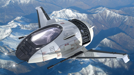 Drone design of alien spacecraft for futuristic military war games, flying at high altitude over a generic snowcapped mountains landscape  Clipping path is included in the  jpg file Stockfoto
