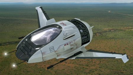 Drone design of alien spacecraft for futuristic military war games, flying at high altitude over a generic field landscape  Clipping path is included in the  jpg file
