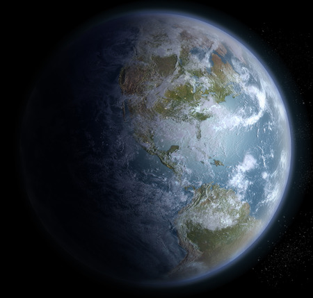 interstellar: Earth from space with North, Central and South America, for futuristic, fantasy or interstellar space travel backgrounds