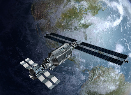 Satellite, spacelab or spacecraft surveying Earth Stock Photo
