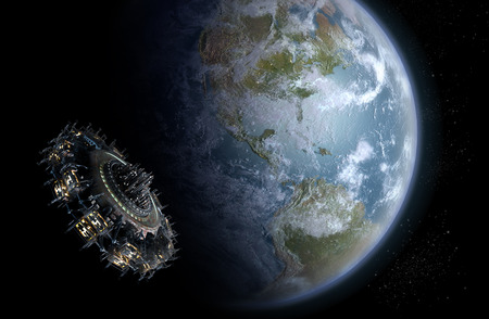 interstellar: Alien UFO mothership nearing Earth, for futuristic, fantasy or interstellar deep space travel backgrounds  Stock Photo