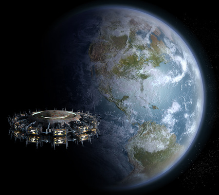 interstellar: Alien UFO mothership, for futuristic, fantasy or interstellar deep space travel backgrounds  Stock Photo