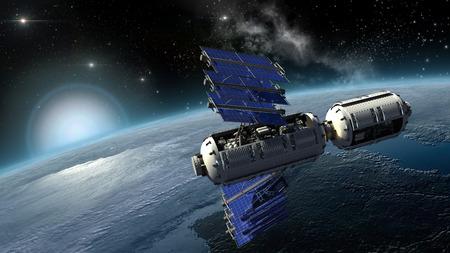 Satellite, spacelab or spacecraft surveying Earth Stockfoto