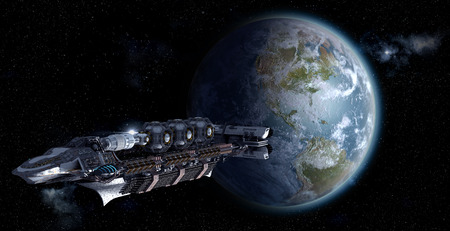 Alien mothership or spacelab leaving Earth for futuristic, fantasy or interstellar deep space travel backgrounds  photo