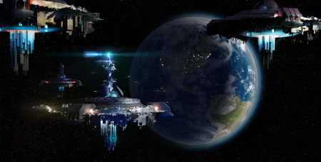 Alien UFO motherships nearing Earth, for futuristic, fantasy or interstellar deep space travel backgrounds