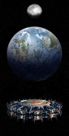 エイリアンの母船の UFO が地球に近づいている、ムーン上昇とコピー スペース ・ ファンタジー ・未来、または星間空間旅行カバー画像や背景