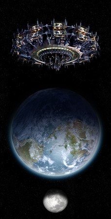 Alien mothership UFO nearing Earth, with the Moon rising  and copy space for futuristic, space fantasy or interstellar travel cover images or backgrounds   Stockfoto