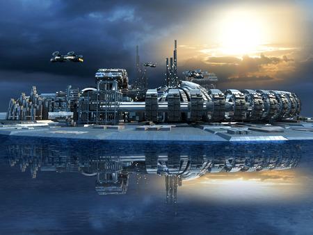 raumschiff: Science-Fiction-Inselstadt mit metallischen Ringstrukturen auf dem Wasser