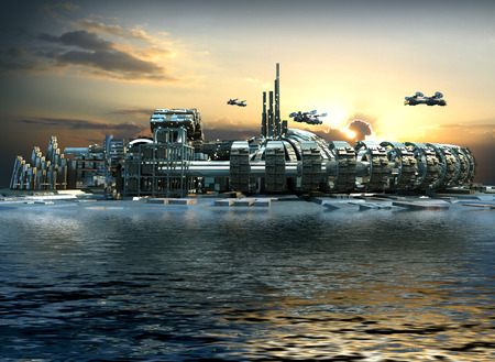 Science fiction island city with metallic ring structures on water