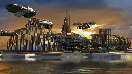 Science fiction island city with metallic ring structures and hoovering aircrafts