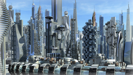 Science fiction city with glass, metallic structures for futuristic or fantasy backgrounds