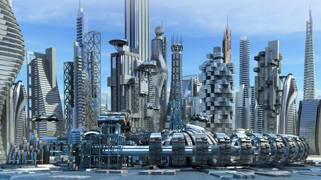 Science fiction stad met glas, metalen constructies voor futuristische of fantasie achtergronden