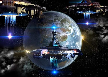 schepen: Buitenaardse ruimteschip vloot nadert de aarde, voor de futuristische, fantasie of interstellaire diep in de ruimte reizen of video-game oorlog achtergronden Stockfoto