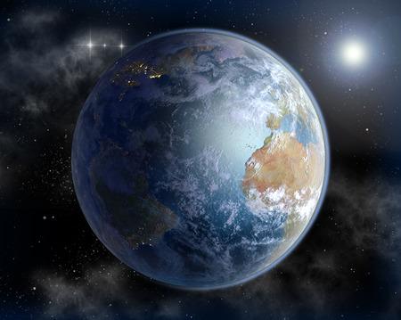 alger: L'Oceano Atlantico e l'Africa occidentale in Alba con il Nord America � notte illuminata.